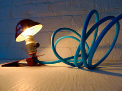 30% SALE Industrial Night Light Mini Red Vintage Clip Lamp with Sky Blue Textile Cord