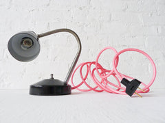 30% SALE Industrial Lamp Retro Atomic Chrome Black Desk Light with Neon Pink Textile Cord