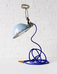 Vintage Industrial Clamp Light w/ Antique Lamp Shade and Royal Blue Textile Cord