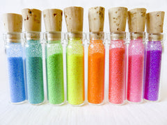 Micro Day Glo Krystal Kandy 8 Mini Vials of Neon Rainbow Glitter
