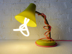 20% SALE Retro Vintage Gooseneck Desk Table Lamp Kiwi Colored with Neon Pink Textile Cord