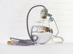 DIY Clip Clamp Lamp Light with Giant Silver Bowl Bulb and Color Textile Cord