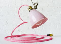 Pretty in Pink Vintage Bell Clip Light with Bright Pink Textile Cord