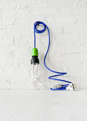 Cool Blue Green Plumen Pendant Light with Textile Cord and Color Socket