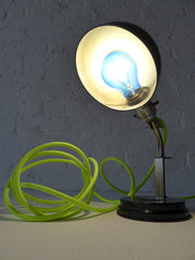 15% SALE Vintage Industrial Black & Chrome Lamp or Sconce with Neon Green Yellow Color Cord
