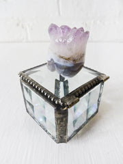 10% SALE Beveled Glass Jewelry Box with Amethyst Druze Crown Agate Crystal Carved Skull