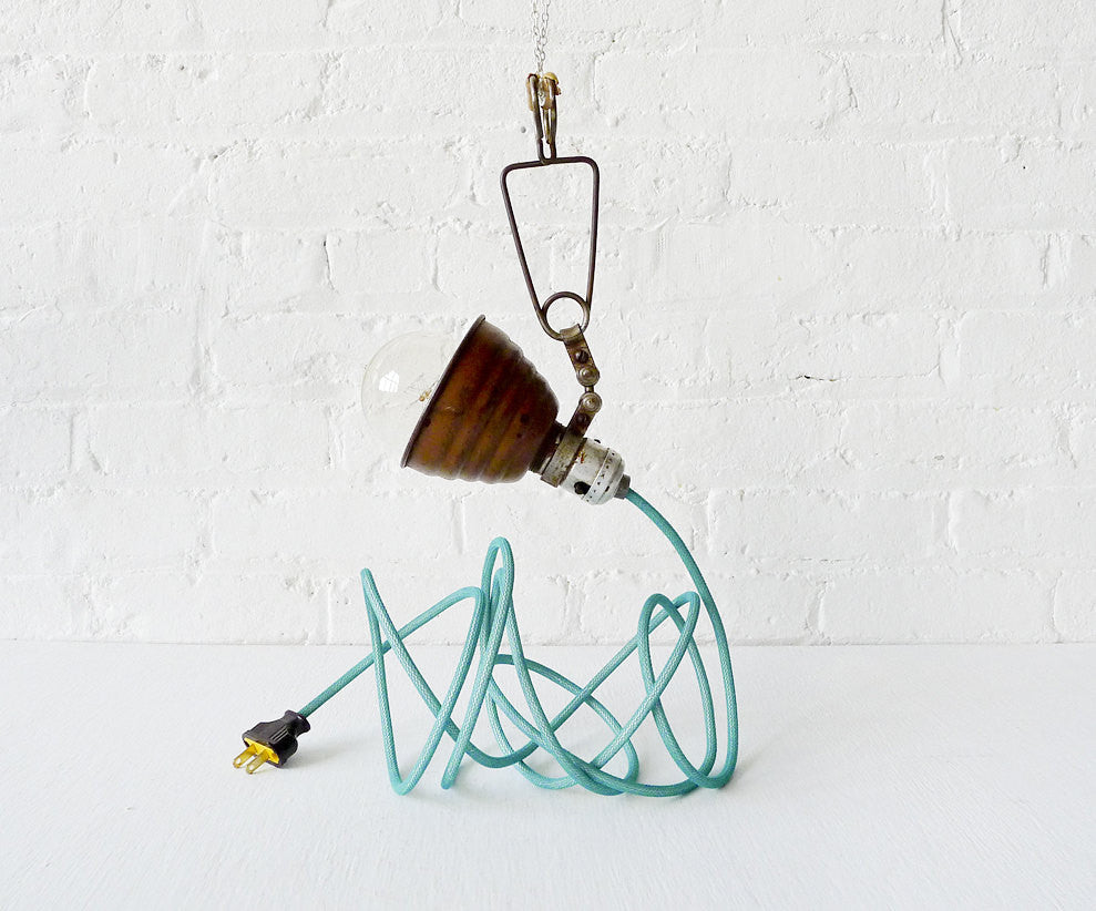 Vintage Industrial Light Little Bell Clip Hanging Lamp with Aqua Textile Cord