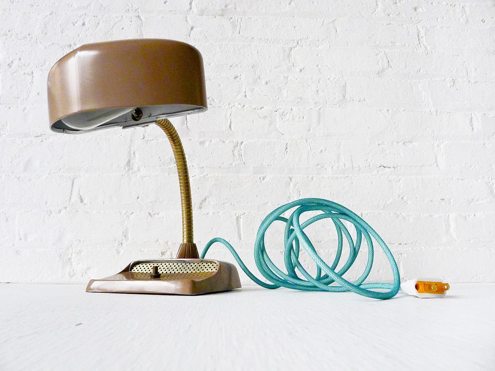 30% SALE Vintage Industrial Desk Lamp Mid Century Hood Light with Aqua Textile Cord