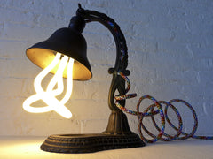 20% SALE The Rainbow Garden Antique Cast Iron Table Lamp with Rainbow Textile Cord