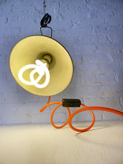 20% SALE Vintage Industrial Clip Clamp Lamp Bell Factory Light with Neon Orange Textile Cord