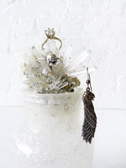 10% SALE Curiosity Jewelry Display Quartz Crystal Cluster in Magic Metallic Mica Bottle
