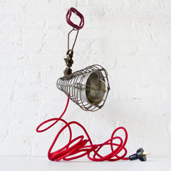 30% SALE Industrial Lighting Spiral Cage Clip Clamp Light with Red Textile Cord