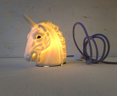 Odysseus the Unicorn Head Night Light with Lavender Textile Cord