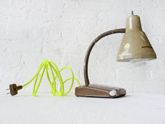 10% SALE Brown Paint Splatter Gooseneck Lamp w/ Neon Yellow Cord
