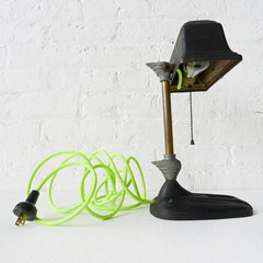 20% SALE The Aviator Desk Lamp with Neon Yellow Green Textile Cord