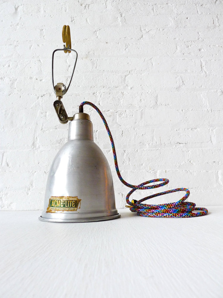 20% SALE Vintage Industrial Clip Clamp Lamp Factory Light with Rainbow Textile Cord