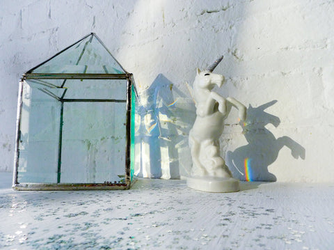 10% SALE Eclipse Unicorn Rainbow Lightning Figurine in Beveled Glass Prism House