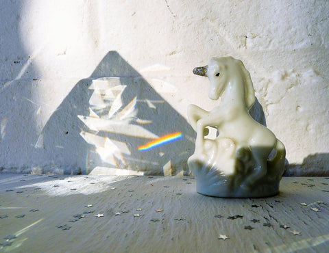 10% SALE Luna Unicorn Rainbow Lightning Figurine in Beveled Glass Prism House