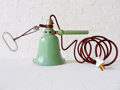 Vintage Industrial Clip Clamp Lamp Pastel Green Light with Brown Textile Cord
