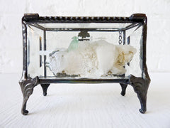 Apophyllite Mint Green Crystal Antique Beveled Glass Jewelry Box