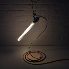 The Saber Rainbow Industrial Clip Light with Ombre Textile Cord