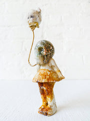 Balloon Head Girl Antique German Bisque Doll with Ocean Jasper Crystal Skull