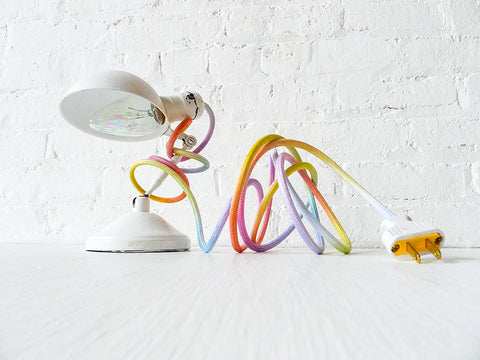 Vintage Industrial White Sconce Clip Clamp Light with Pastel Ombre Rainbow Textile Cord