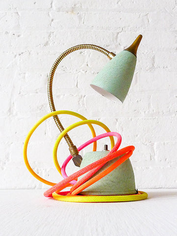 Retro Mint Green Vintage Gooseneck Lamp with Ombre Citrus Textile Cord