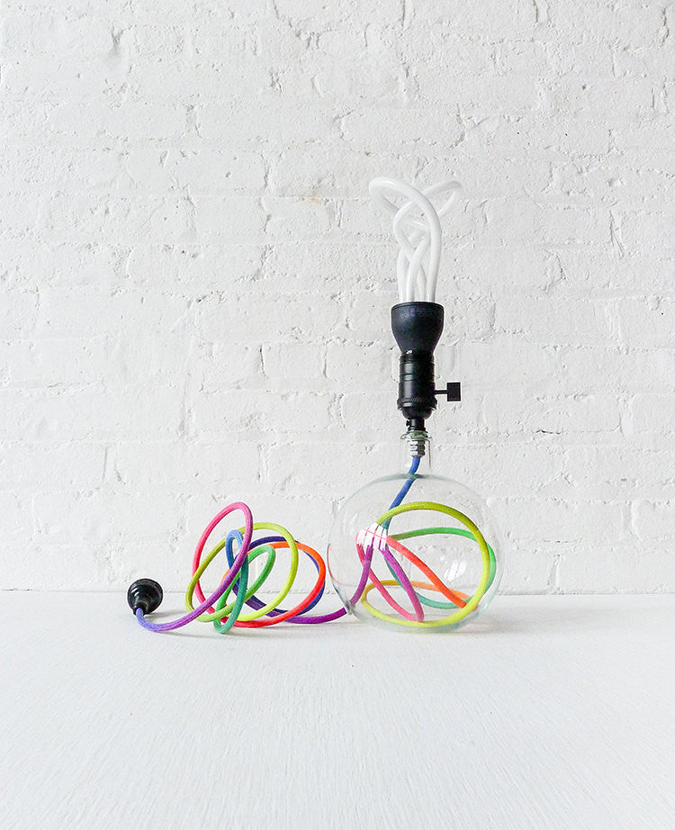 30% SALE Modern Glass Globe Bubble Table Lamp with Ombre Rainbow Textile Cord and Plumen Light Bulb