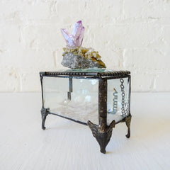 Vera Cruz Amethyst Crystal on Beveled Jewelry Box with Iridescent Mica
