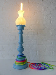 50% SALE - Vintage Alice Wonderlamp Sky Blue Boudoir Light with Ombre Over the Rainbow Textile Cord