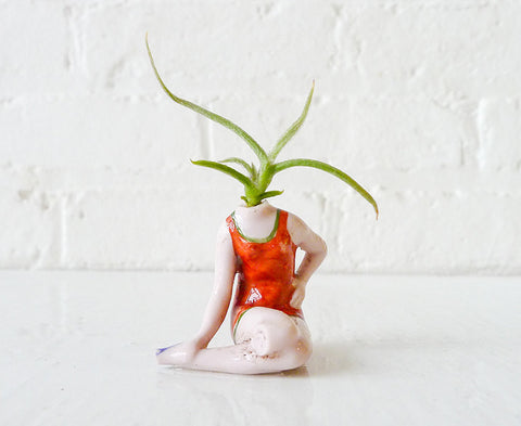 Vintage Summer Pinup Plant Girl Antique German Bisque Doll Air Plant Planter