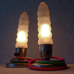 20% SALE Vintage Art Deco Industrial Pair of BulletStyle Lamps with Rainbow Textile Cord