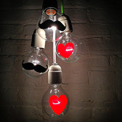 The I Heart Mustache Light Bulbs Hand Painted Globe Bulb