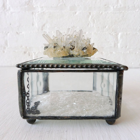 Beveled Glass Jewelry Box with Quartz Pyrite Matrix Crystal Cluster and Mica