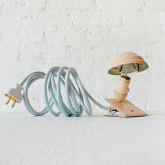 Pretty Pink Industrial Night Light Little Miss Tinker Pink Clip Clamp Lamp Light Sky Blue Color Cord