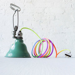Industrial Mint Clip Clamp Lamp Hand Dyed Neon Ombre Pastel Rainbow Textile Cord