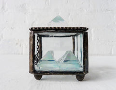 Dark Side of Lunaz Box Beveled Glass Jewelry Display with Polished Quartz Pyramid Crystals