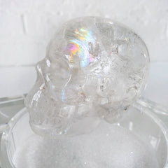 15% SALE The Crystallion Jewelry Box Beveled Glass Display Polished Quartz Crystal Skull