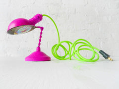 Vintage Hot Pink Lamp with Neon Green Yellow Textile Cord