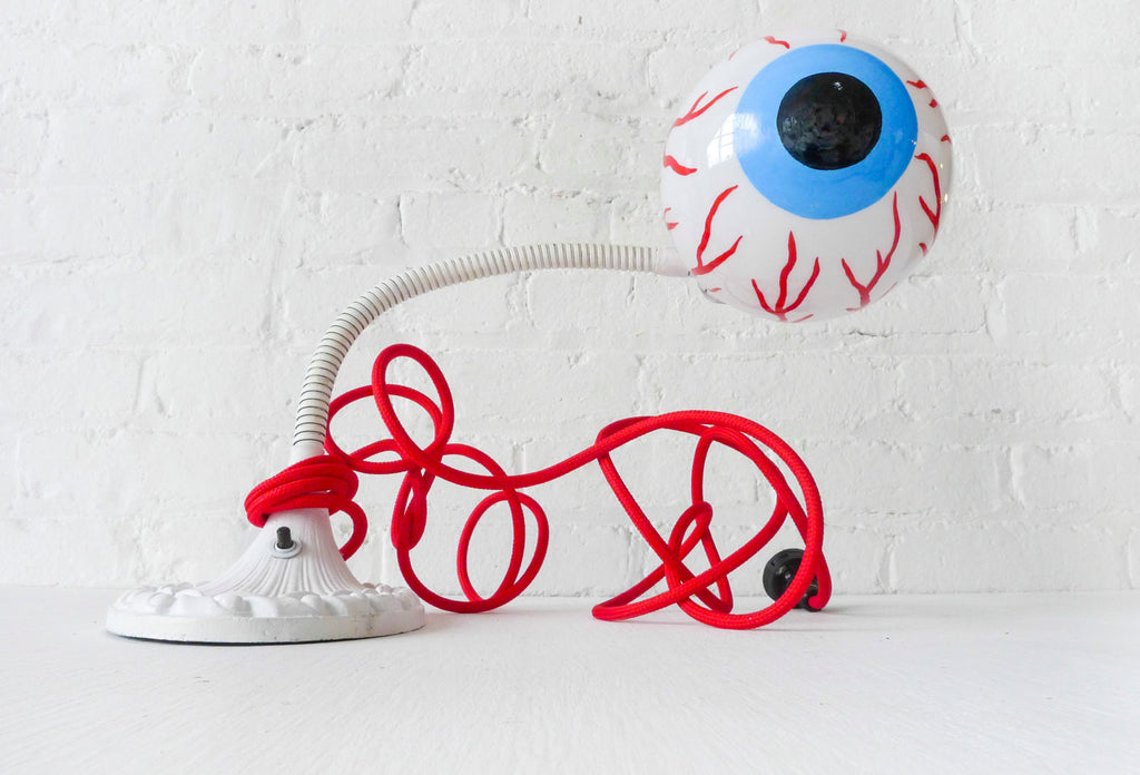 Eye See You Vintage Industrial Neon Glow Gooseneck Lamp with Blood Red Textile Color Cord