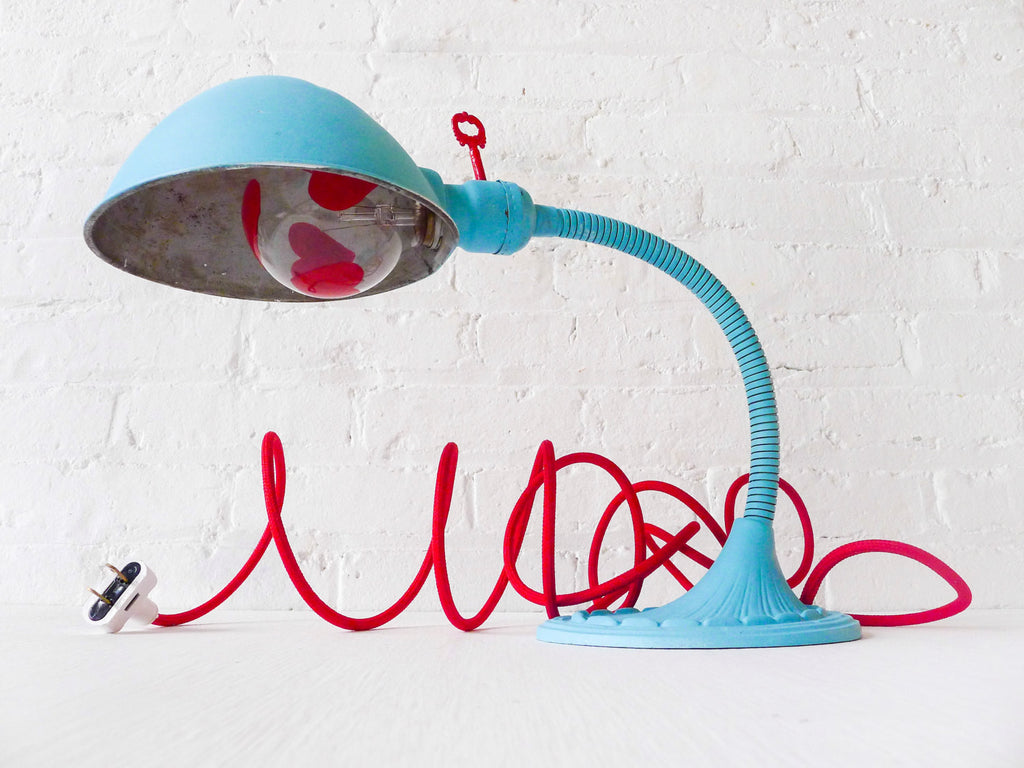 30% SALE Baby Blue Alice Vintage Gooseneck Table Lamp