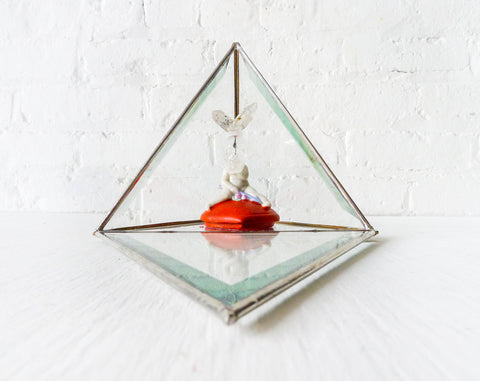 Cupid Love Rabbit - Antique Figurine in Glass Pyramid