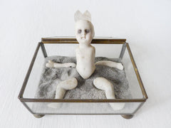 Ashes to Dust Quartz King German Bisque Doll in Glass Jewelry Curiosity Box