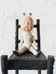Watching Baby Frankenstein Antique German Bisque Doll with Cast Iron High Chair