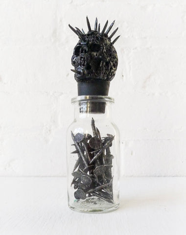Hell Raiser Spiked Lava Skull Vintage Glass Bottle of Nails