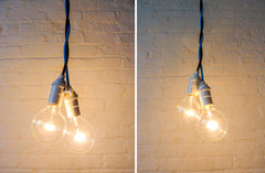 Hanging Plug Light Custom Choice of Blue or Brown Textile Cord