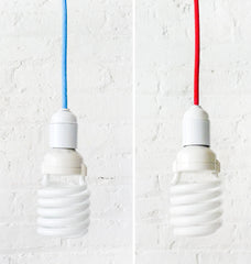 Hanging Pendant Light Custom Made Choice of Red or Blue Color Cord