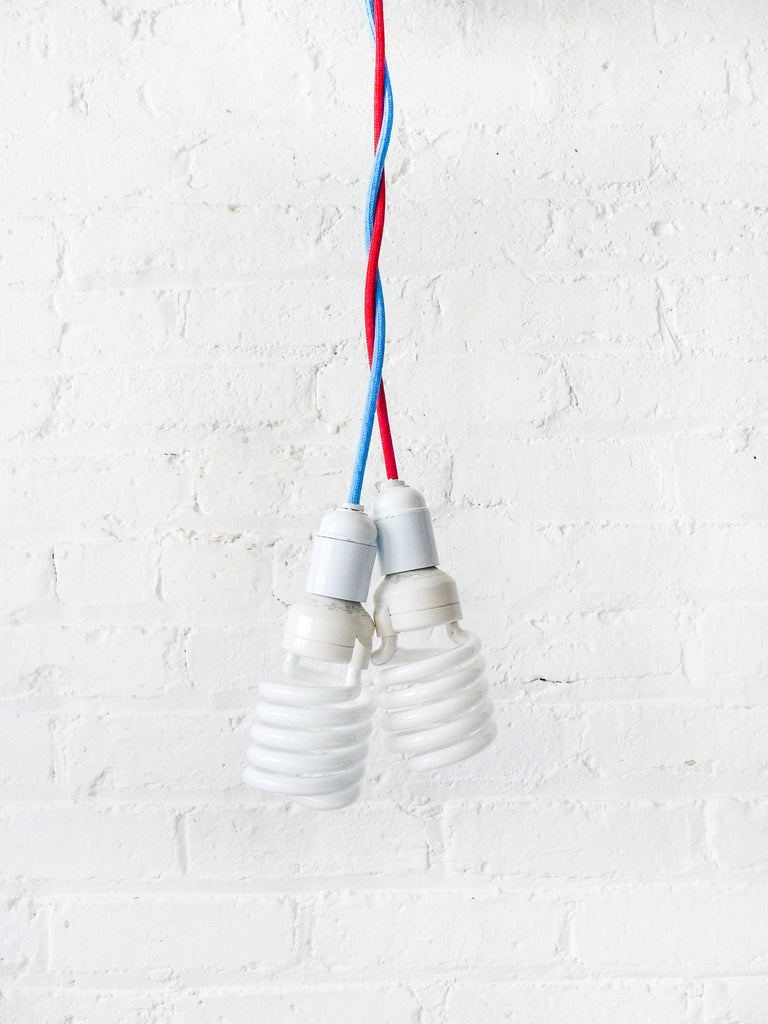 Hanging Pendant Light Custom Choice of Red or Blue Textile Cord