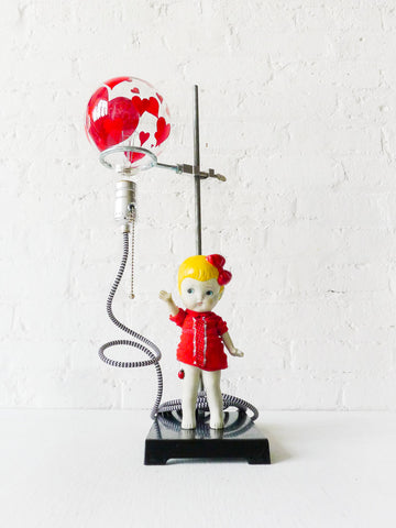 Balloon Girl Light Vintage Bisque Doll on Science Stand Lamp with Textile Cord
